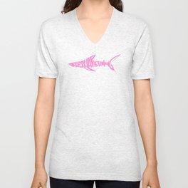 Stop Shark Finning (pink) Unisex V-Neck