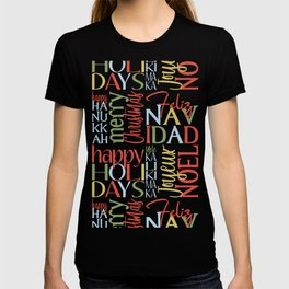 Holiday Typography with Merry Christmas Joyeux Noel Feliz Navidad Happy Hanukkah T-shirt