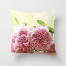 Wonderful pink Roses in LOVE - Vintage Rose Stilllife Photography Throw Pillow