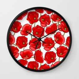 cute red poppies Wall Clock
