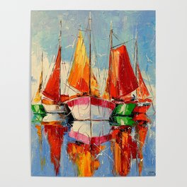 Sailboats anchored Poster