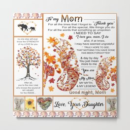 Elephant- Wolf- To my  mom from Daughter- I need to say I love you, Mom I do, good Night Mom- beddin Metal Print