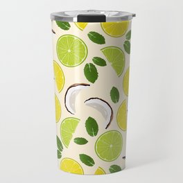Lime Lemon Coconut Mint pattern Travel Mug