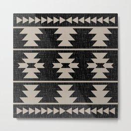 Southwestern Pattern 129 Black and Linen Metal Print