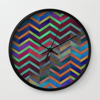 holographic Wall Clocks featuring Color Transition Chevron by Klara Acel