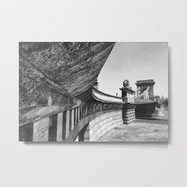 Budapest Chain and Bridge St. Stephen's Basilica Metal Print