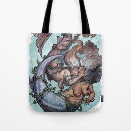 Old lady mermaids smooching Tote Bag