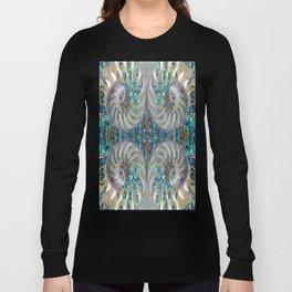 Blue-Green Grey Nautilus Shells Modern Abstracted Art Pattern Long Sleeve T-shirt