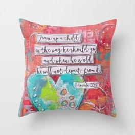 Train up a Child Scripture Art Throw Pillow