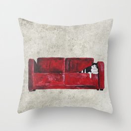 cat in a red sofa  Throw Pillow