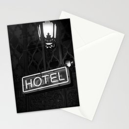Vintage Hotel Neon Sign Black and White Photography Stationery Cards
