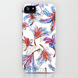 Floral Lace Blue&red iPhone Case