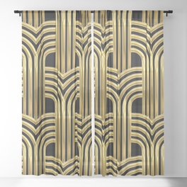 3-D Art Deco Sultry Cuban Nights Gold Pattern Sheer Curtain