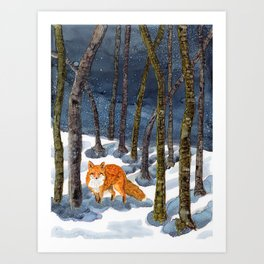 Winter Fox - Alcohol Ink Art Print
