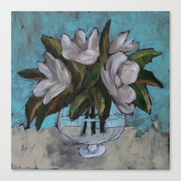 Magnolias in a Fish Bowl Painting Canvas Print