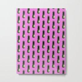 Pink and green pineapple pattern Metal Print