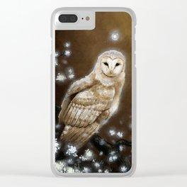 Fantasy Barn Owl Clear iPhone Case