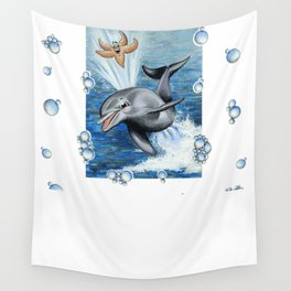 DOLPHIN & STARFISH PLAYING Wall Tapestry