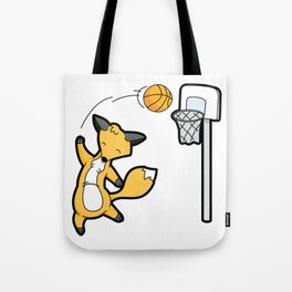 Basketball Playing Happy Fox Tote Bag