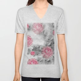 ROSES PINK WITH CHERRY BLOSSOMS Unisex V-Neck