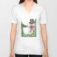 snowman V-neck T-shirts featuring Snowman... by Saltz