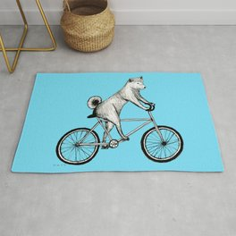 Shiba Inu Riding a Bicycle Rug