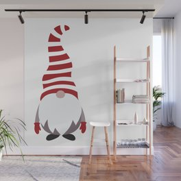 Christmas Gnome Striped Hat Wall Mural