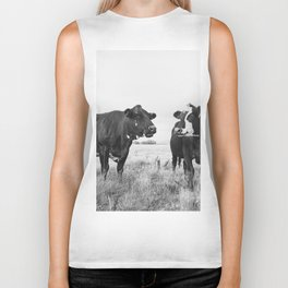 Cattle Photograph in Black and White Biker Tank