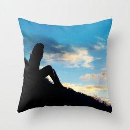 Evening Sunset Landscape - Mountain Girl Throw Pillow