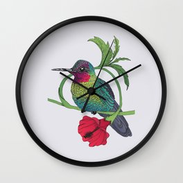Colibri and a flower Wall Clock