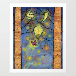 Touching the Light: One Danced with the Fireflies Illumination Print Art Print