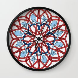 Blue Whales in a Red Sea Wall Clock