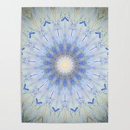 Crystal Blue Decorative Mandala Poster