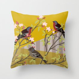 chaffinches in the cherry tree Throw Pillow