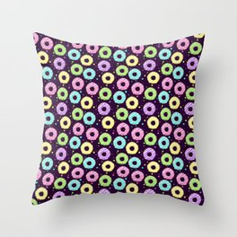 delicious donuts with multi-colored icing on a dark background. cartoon donuts Throw Pillow