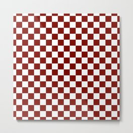 Vintage New England Shaker Barn Red and White Milk Paint Jumbo Square Checker Pattern Metal Print