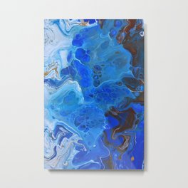 Storm Surge Blue and Brown Fluid Acrylic Abstract Painting Metal Print