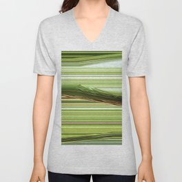 Green Strips Abstract Unisex V-Neck