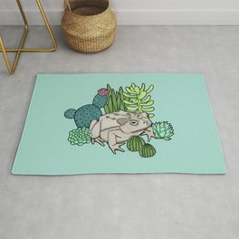 Toad with Succulents - Turquoise Rug