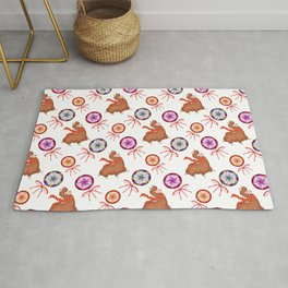 Baby llamas, sweet vintage retro lollipops candy with ribbons. Cute holidays winter nursery pattern Rug