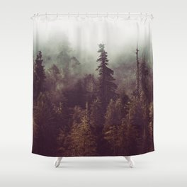 Mountain Morning Mist - Nature Photography Shower Curtain