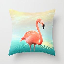Sunset Flamingo Throw Pillow