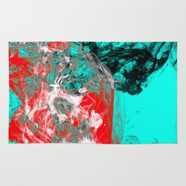 Marbled Collision - Abstract, red, blue, black and white mixed paint artwork Rug