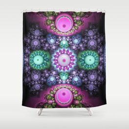 Decorative round patterns, fractal abstract Shower Curtain