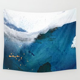 In the Surf: a vibrant minimal abstract painting in blues and gold Wall Tapestry
