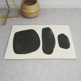 Mid Century Modern Minimalist Abstract Art Brush Strokes Black & White Ink Art Tribal Pebbles Rug