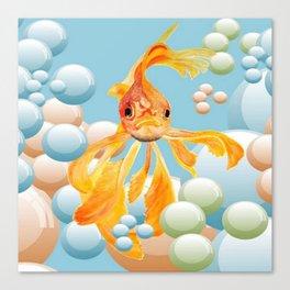 Vermillion Goldfish Blowing Bubbles Canvas Print