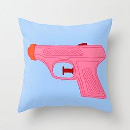 Pink Squirt Gun Throw Pillow