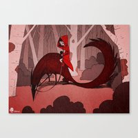 red riding hood Canvas Prints featuring Red Riding Hood riding by Gromy