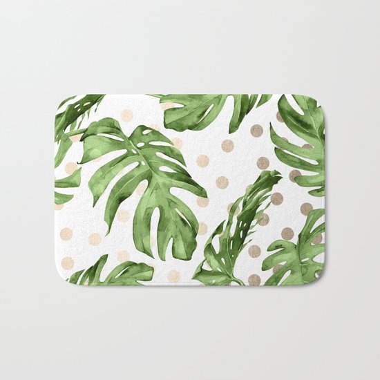 Simply Tropical White Gold Sands Dots and Palm Leaves Bath Mat
